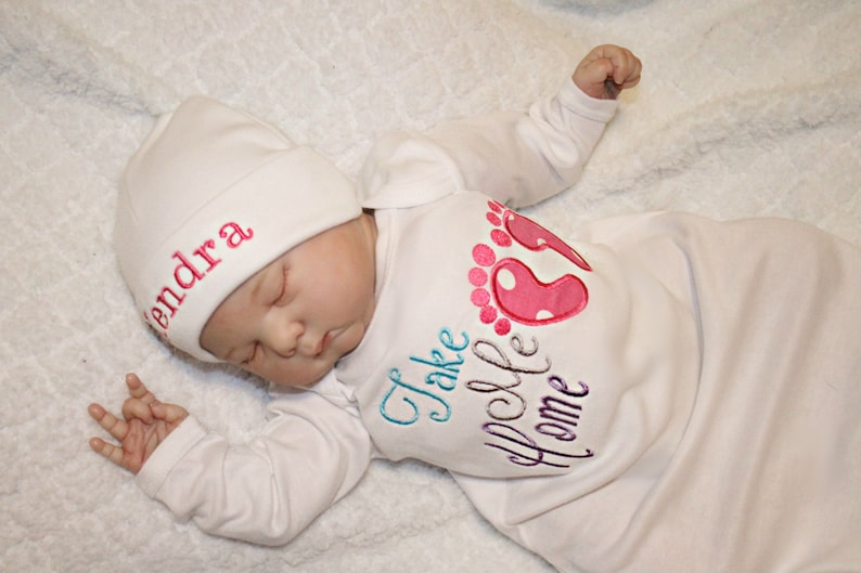 9648161bc18a2 Newborn Girl Coming Home Outfit Baby Girl Hospital Outfit Take | Etsy