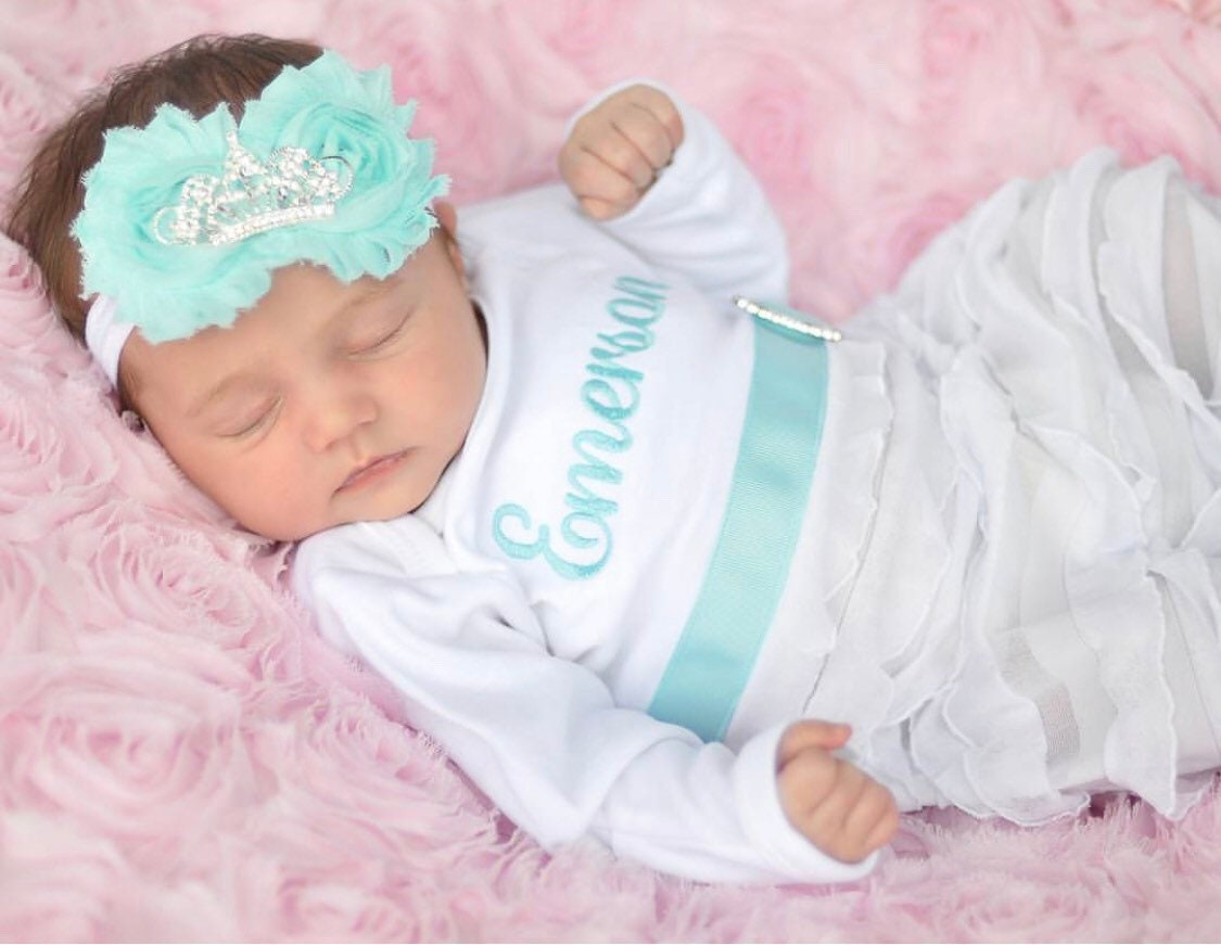 30adfca98 Newborn Gown Baby Gown Girl Clothes Personalized Newborn Girl Take Home  Outfit Personalized Layette Gown Tiara Headband New Baby Gift Set