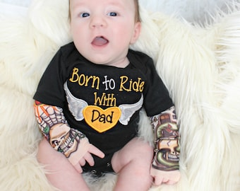 Tattoo Sleeve Shirt Heartbreaker  Baby Boy Clothes  Embroidered Tattoo Born to Ride with Dad Baby Biker Outfit