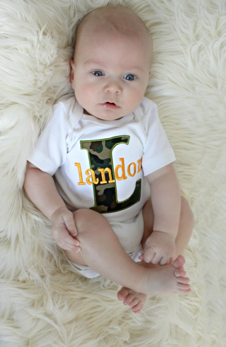 Monogrammed Baby Boy Clothes  Camo Baby Boy  personalized Baby Boy Outfit Perfect for Twins Monogram boy Outfit