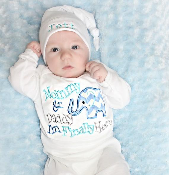 Newborn boy take home hospital outfit elephant baby shower boy