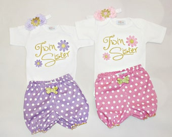 Twin Girls Sisters Outfits Twin Girl Clothes Newborn Twins Girls Take Home Outfit Shorts Headband Twins Gift Set Twin Sisters Baby Girl Outf