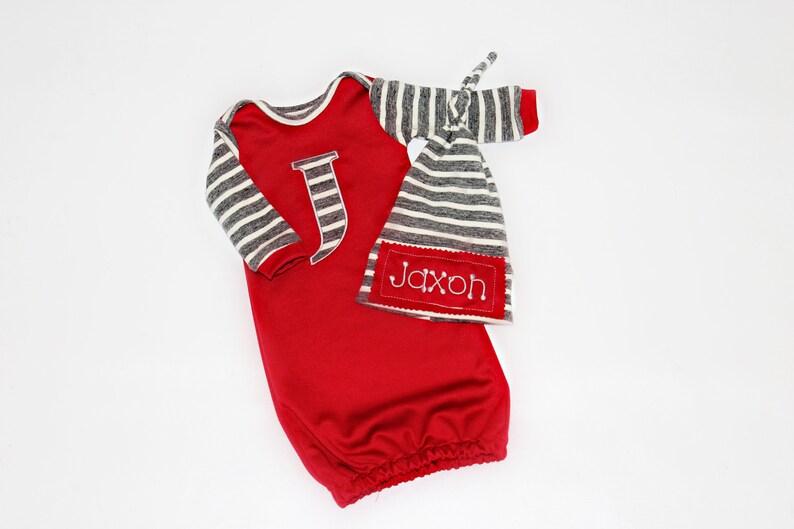 Baby Girl Clothes Personalized Newborn Baby Girl Gown Personalized Hat Newborn Take Home Outfit Monogram Baby Gift Baby Preemie