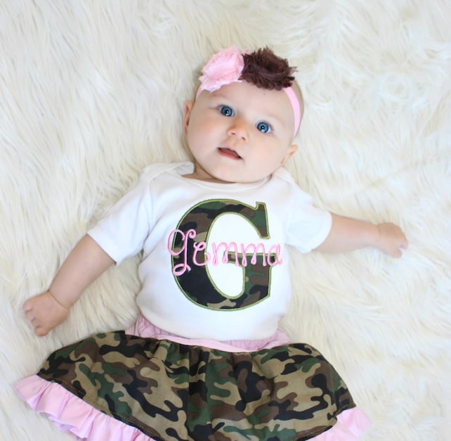 Baby Girl Camo Clothes Adorable Personalized Baby Girl Clothes Pink Camo Baby Girl Outfit Etsy