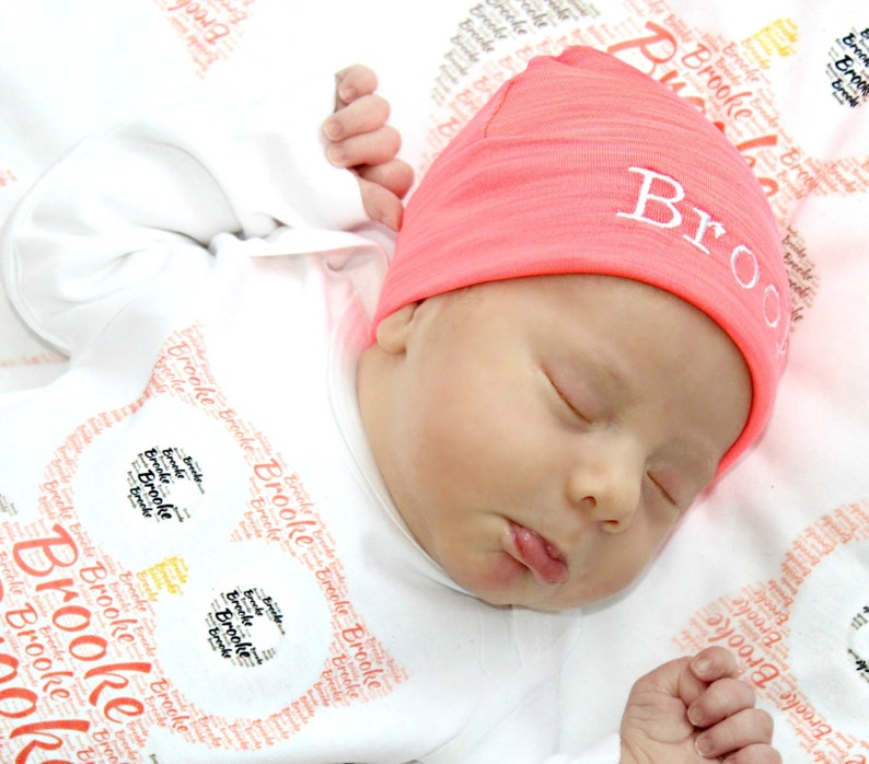 1f3ce0a73 Personalized Beanie Hat Newborn Baby Monogrammed Hat Personalized Baby Hat  Preemie Hat Baby Cap Hospital Hat Twins Hopital Hats Custom Baby