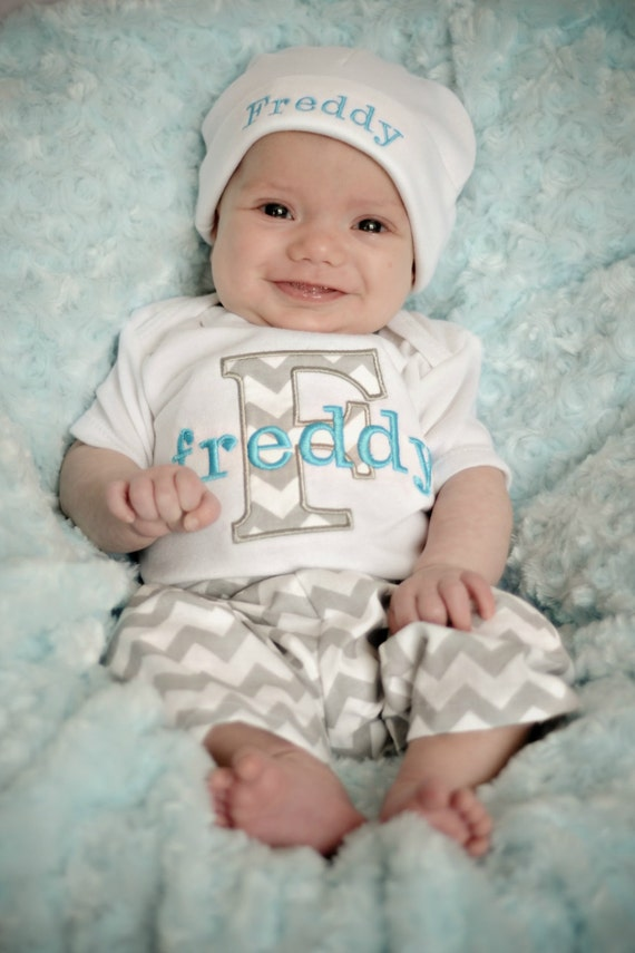 Personalized Baby Boy Gift Baby Boy Clothes Gray Turquoise ...