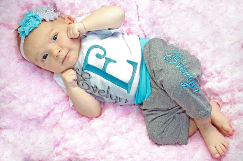 abd16a155baba Personalized Baby Clothes Baby Girl Outfit Personalized Baby Girl Leggings  Newborn Girl Coming Home Outfit Personalized Newborn Baby Gift