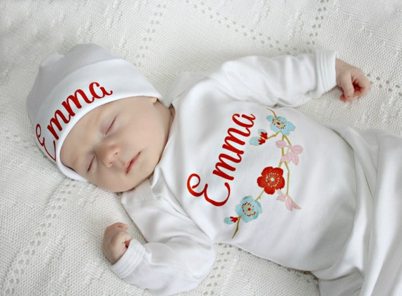 0a7462e75 Baby Shower Gift Girl Newborn Girl Coming Home Outfit Baby Hospital Outfit  Personalized Take Home Outfit Infant Girl Gown Newborn Baby Gift