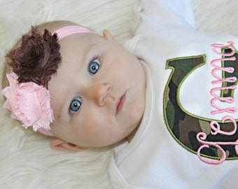 Personalized Baby Girl Clothes Pink Camo Baby Girl Outfit Perfect for Twins