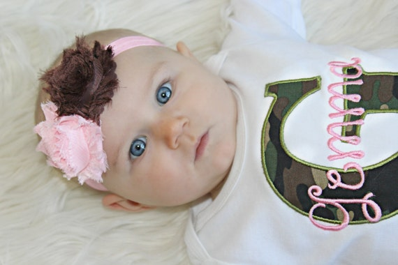 Items similar to Personalized Baby Girl Clothes Pink Camo ...