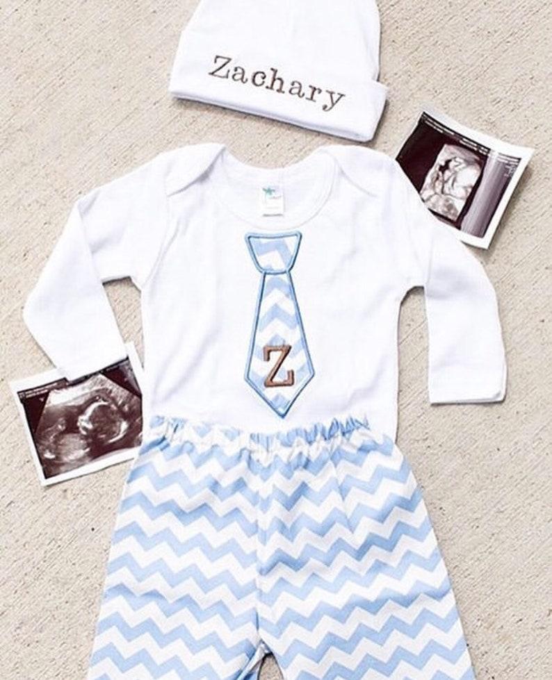 33c6de1a Newborn Baby Boy Clothes Monogram Boy Tie Personalized Hat | Etsy