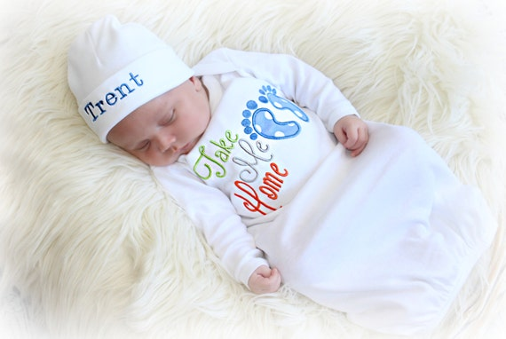 Mommy and Me Newborn Boys Take Home Outfit  Newborn Boy Coming Home Outfit  Newborn Floral Outfit   Hosptial Clothing Set  Preemie
