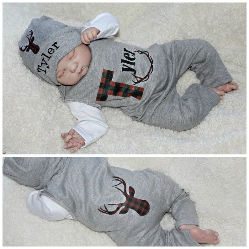 f1863a861a7 Newborn Boy Coming Home Outfit Buffalo Plaid Red Black Plaid