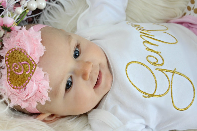 Pink Glitter Gold Personalized Baby Girl Clothes Newborn ...