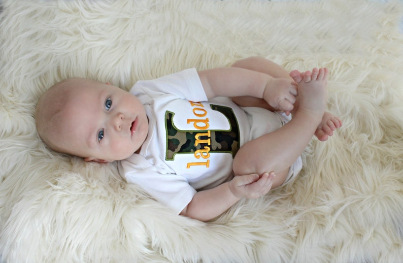 Baby Boy Clothes Personalized Baby Boy Outfit Monogram Baby Boy Camo Bodysuit and Pants Baby Outfit Newborn Boy Baby Gift