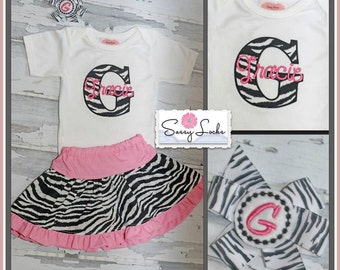 Zebra Print Personalized Baby Girl Clothes, Newborn Girl Take Home Outfit, Animal Print Shirt,  Monogram Girl Outfit Twin, Sisters Outfits