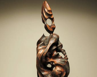 Abstract Wood Sculpture celebration of the raven