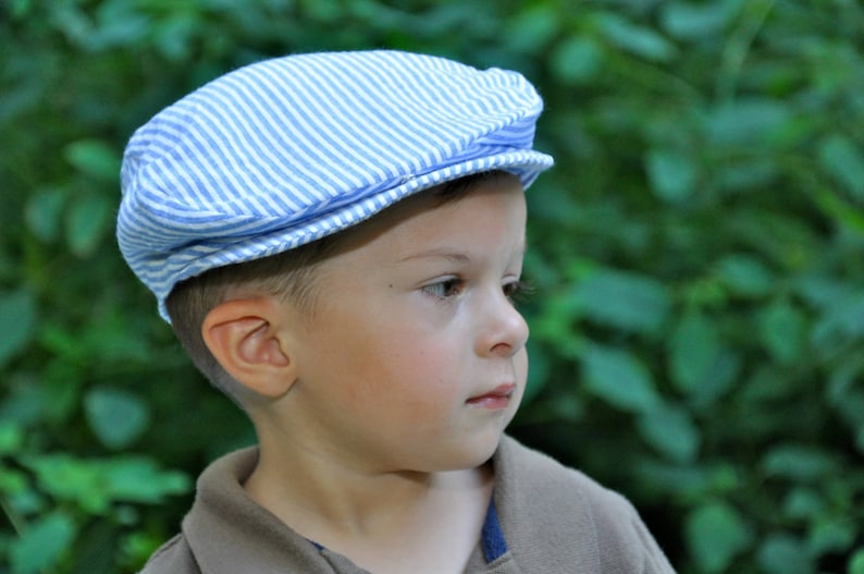 d8b12fb8d2b Seersucker Scally Cap Newsboy Cap Golfers Cap Blue