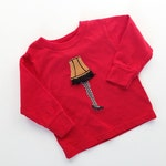 Christmas Story Leg Lamp on Red Long Sleeve T Shirt