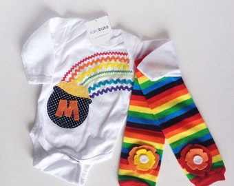 St. Patrick's Day Personalized Pot Of Gold Rainbow Bodysuit Shirt