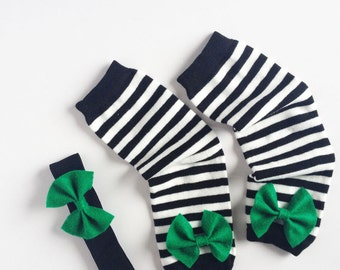 St Patrick's Day Leg Warmers, Black and White Stripes with Kelly Green Bows and Bow Headband