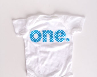 First Birthday Turquoise Aqua ONE Bodysuit