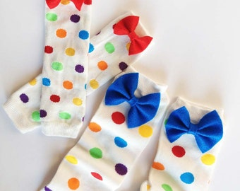 Rainbow Polka Dotted Baby Bow Leg Warmers: green, yellow, purple, bright blue, red, orange, white