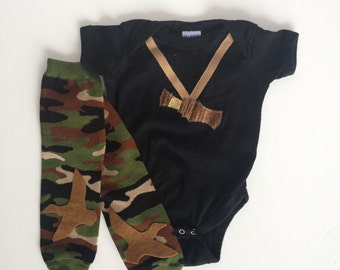 the ORIGINAL Camouflage Duck Call Hunting One Piece with Camo Baby Leg Warmers