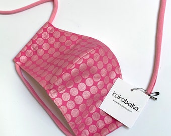 Metallic Pink Polka Dot Face Mask With Pocket for filter and fabric straps, Pink Shimmer Polka Dot Face Mask