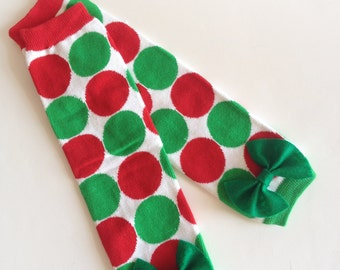 Christmas Polka Dots Baby Leg Warmers with Bow - Pick Your Own Color