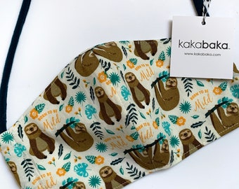 Sloth Face Mask With Pocket for filter and fabric ties, Sloth face mask