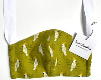 Parrot Face Mask With Pocket for filter and fabric ties, Cockatoo face mask, Olive green face mask