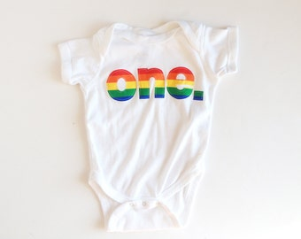 First Birthday Rainbow ONE Bodysuit