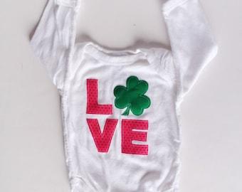 LOVE Shamrock Bodysuit, Shamrock Shirt, St Patrick's Day Baby Girl