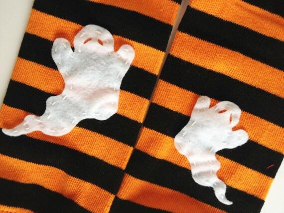 Jambières bébé Halloween orange et noir rayé avec ghost
