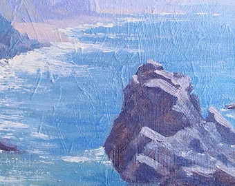 El Pescador Shore Seascape Plein Air Impressionist Painting Malibu California
