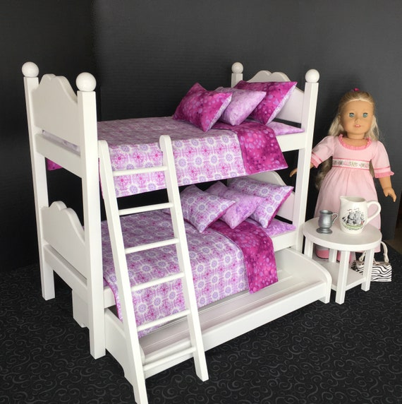 American Girl Doll Bunk Beds With Purple And Lavender Bedding Etsy