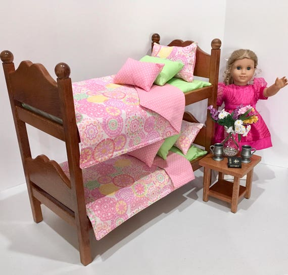 American Girl Doll Bunk Beds Pink Bedding For 18 Inch Dolls Etsy