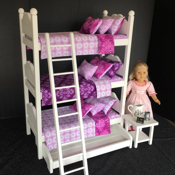 American Girl Doll Furniture Triple Bunk Bed With Purple Etsy