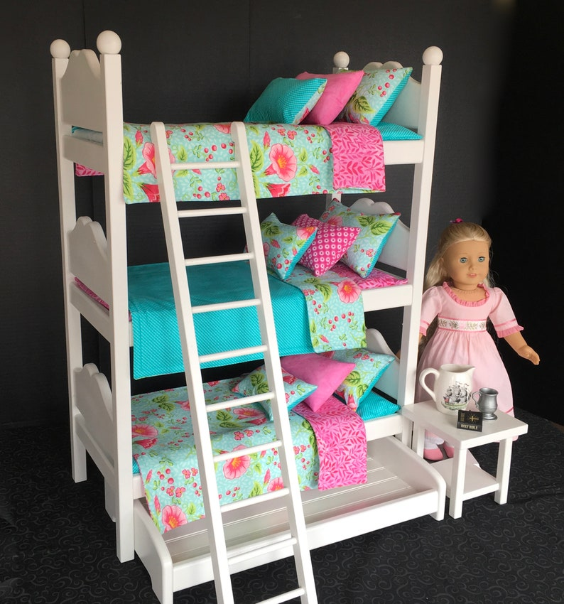 American Girl Doll Furniture Triple Bunk Bed With Hibiscus Etsy