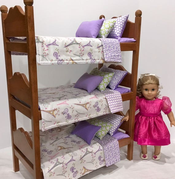 American Girl Doll Furniture Triple Bunk Bed With Paris Etsy