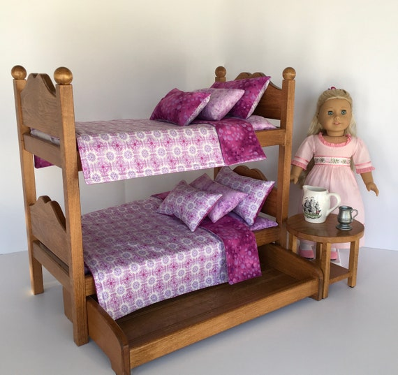 American Girl Doll Bunk Beds Oak Stained With Purple And Etsy