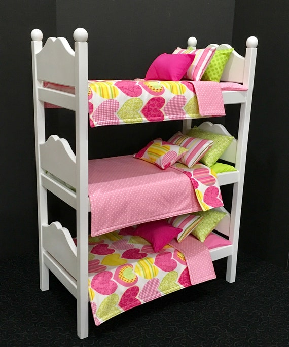 American Girl Doll Furniture Triple Bunk Bed With Pink Hearts Etsy