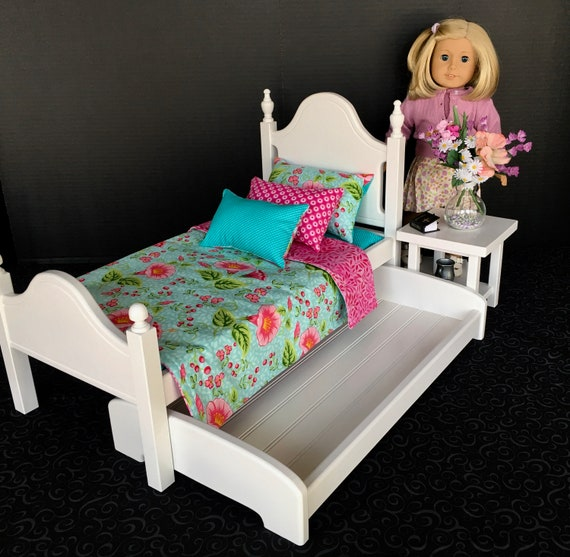 American Girl Doll Furniture White Bed With Riley Blake Etsy