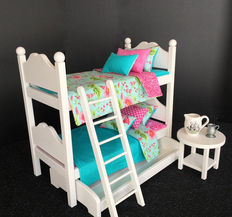 American Girl Doll Bunk Beds With Pink And Blue Tropical Etsy