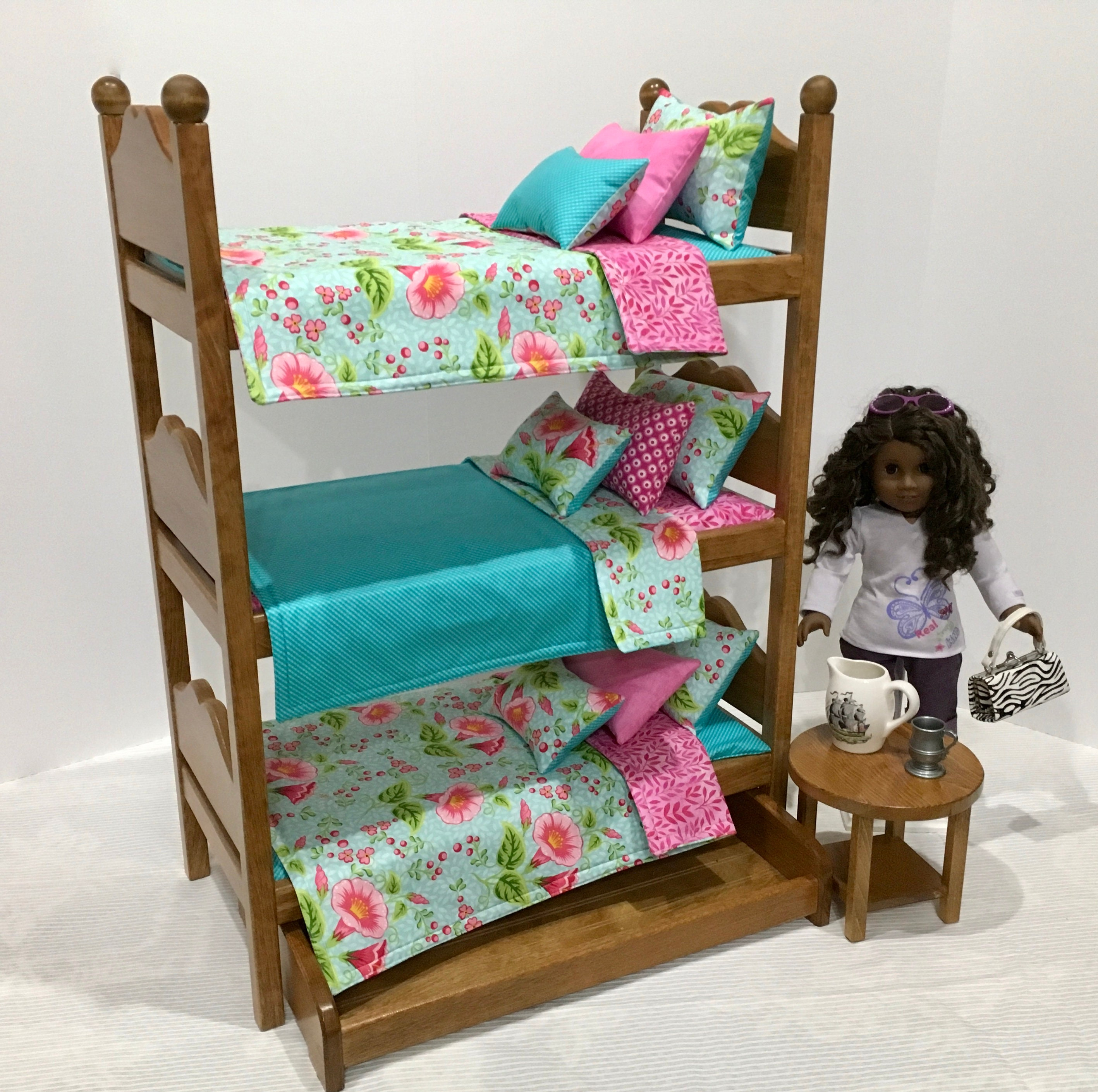 American Girl Doll Furniture Triple Bunk Bed With Riley Blake Etsy