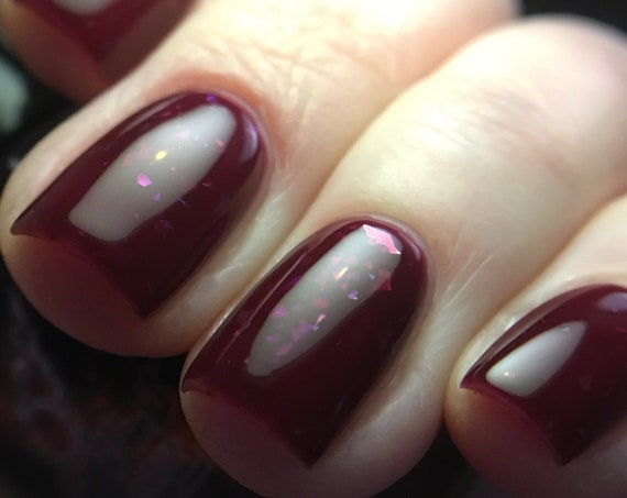 Hold My Heliosphere nail polish burgundy flake sparkle