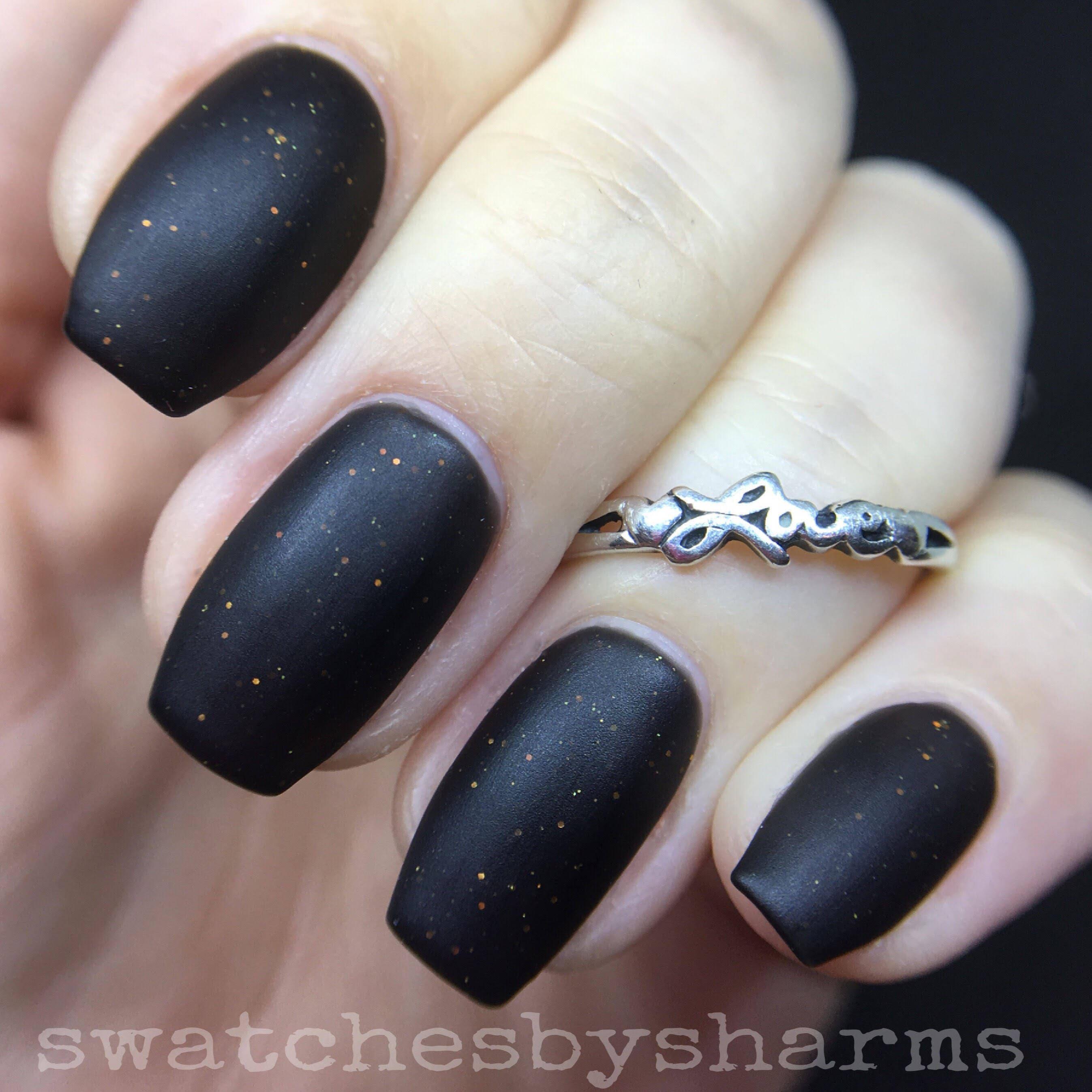 Black Matter Nail Polish matte black with orange glitter vegan | Etsy