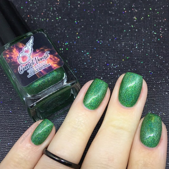 Trek the Halls nail polish Holiday green, holo, holographic, blue, shimmer, shiny, glitter, laser, rainbow
