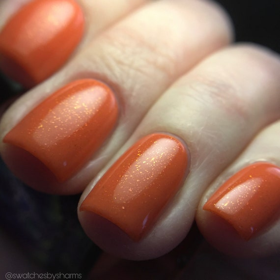 Hot Super Novas in Your Area nail polish salmon peach melon watermelon pink orange flakes flakies